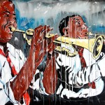 DUO JAZZ-, acrylics on canvas, 60x120 cm (2014)