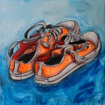 ORANGE SHOES, mixed media on canvas, 50x50 cm (2015)